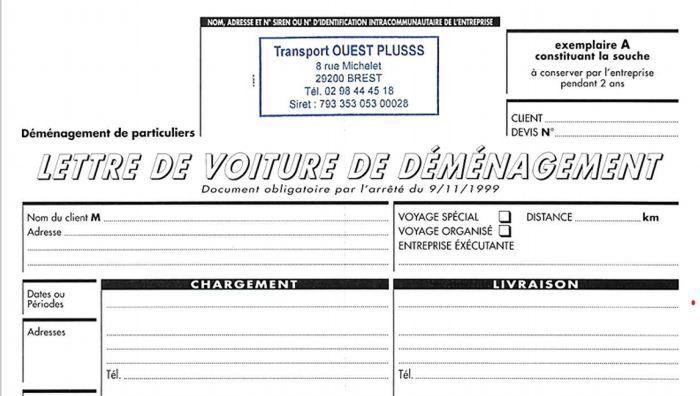 Devis de déménagement dans le Finistère : remise obligatoire de la lettre de voiture.